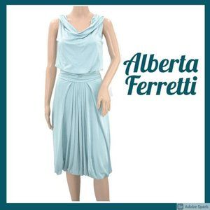 Ferretti Seafoam Blue Slinky Bubble Hem Dress 4